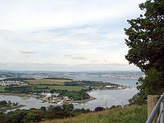 Hamoaze - Devonport Dockyard and the Hamoaze from the Rame Peninsula, Cornwall