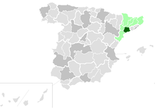 The Archdiocese of Tarragona in dark green.