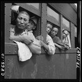 Discharged Japanese soldiers crowd trains as they take advantage of free transportation to their homes after end of... - NARA - 520938.tif