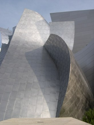 Walt Disney Concert Hall - The exterior of Founders room after panels were re-surfaced.