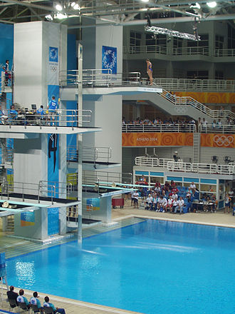 Diving at the 2004 Summer Olympics - View of the diving platforms at the Olympic Aquatic Centre in Athens, during the 2004 Summer Olympics.