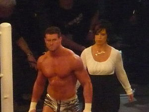 Vickie Guerrero - Guerrero accompanying Dolph Ziggler to the ring in April 2011.