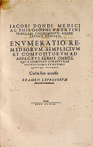 Jacopo Dondi dell'Orologio - Title-page of the 1610 edition of Dondi's Enumeratio remediorum.