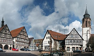 Timber framing - The market square of Dornstetten (Germany) showing an ensemble of half-timbered buildings
