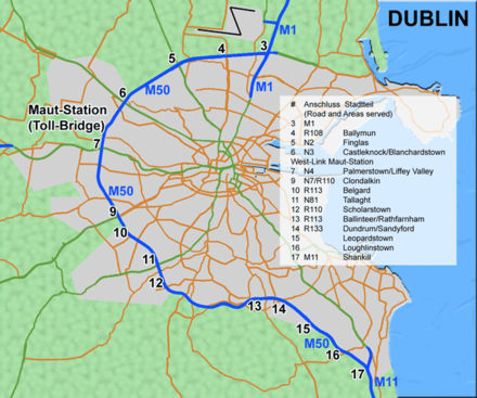 The M50 motorway surrounding Dublin DublinM50.png