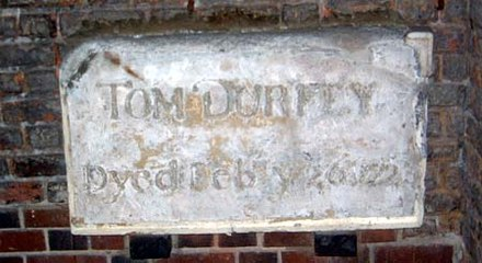 Memorial to Durfey at St James's Church, Piccadilly Durfey.jpg
