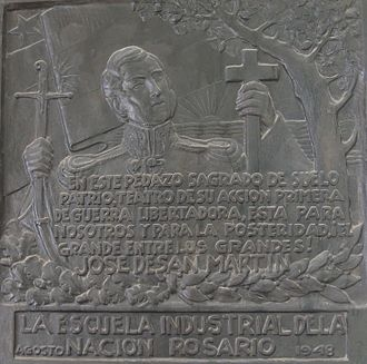 Battle of San Lorenzo - Plaque about the battle, at the San Carlos Convent.