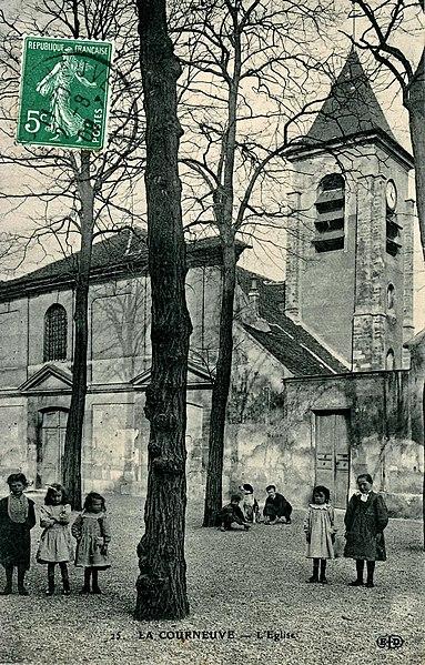 Carte postale ancienne éditée par ELD, N°25La Courneuve: L'église Saint Lucien