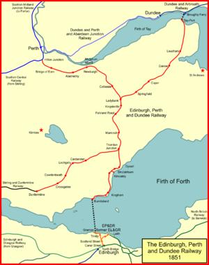 Edinburgh and Northern Railway - The Edinburgh, Perth and Dundee Railway system in 1851
