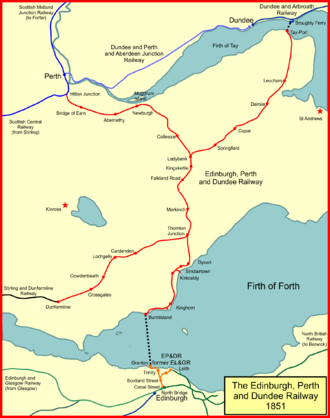 The Edinburgh, Perth and Dundee Railway system in 1851 EP&DR 1851.png