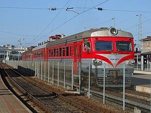 Rīgas Vagonbūves Rūpnīca - ER9M-390-1 in Vilnius passenger station, Lithuania