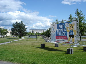 2009 European Youth Summer Olympic Festival - EYOF olympic village at Tampere University of Technology Campus in 2009. The mascot can be seen on the billboard.