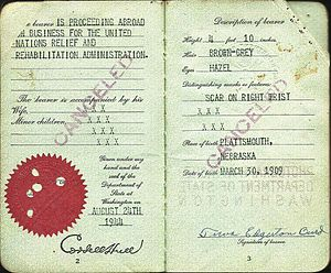 History of the United Nations - Early United Nations official's passport from World War Two - working for UNRRA, issued in 1944 for the Middle East.