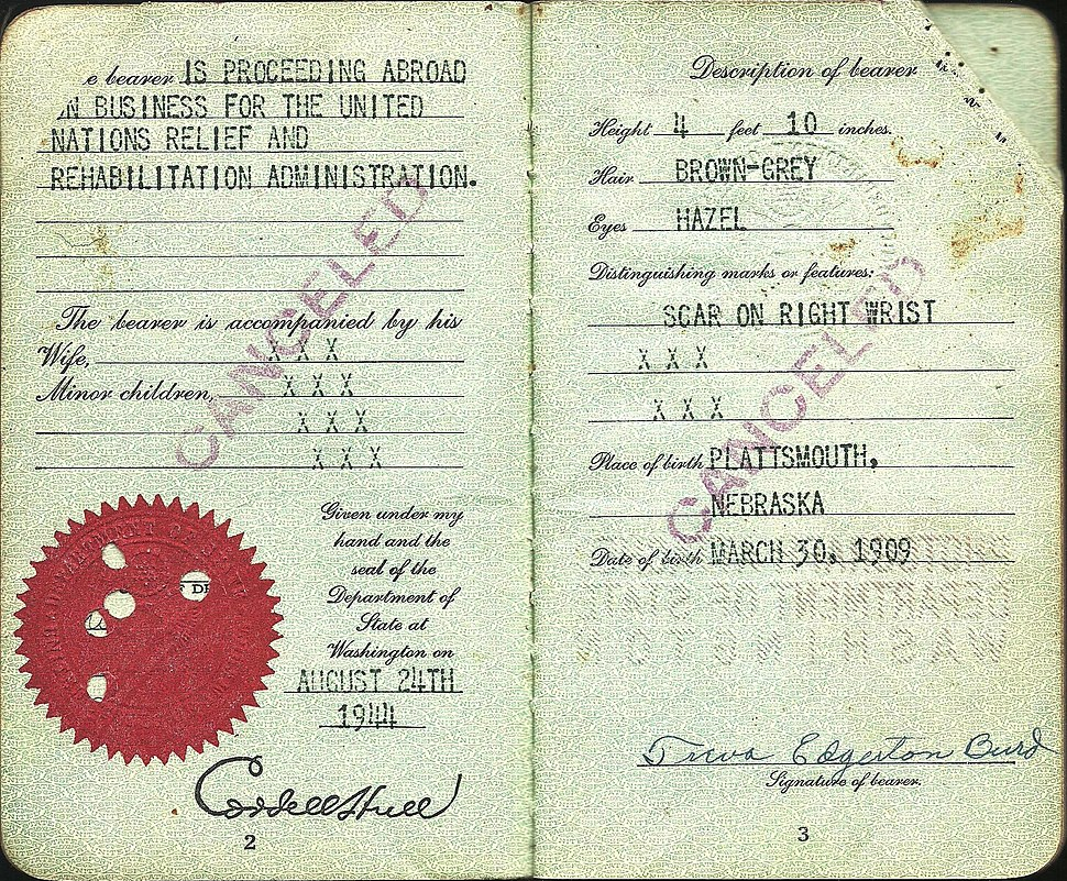Early United Nations official's passport from WW2 - working for UNRRA 1944