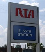 East 55th Cleveland RTA station sign.jpg