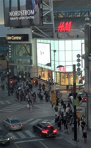 Toronto Eaton Centre - The main entrance to the Eaton Centre at Yonge and Dundas