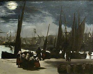 Clair de lune sur le port de Boulogne