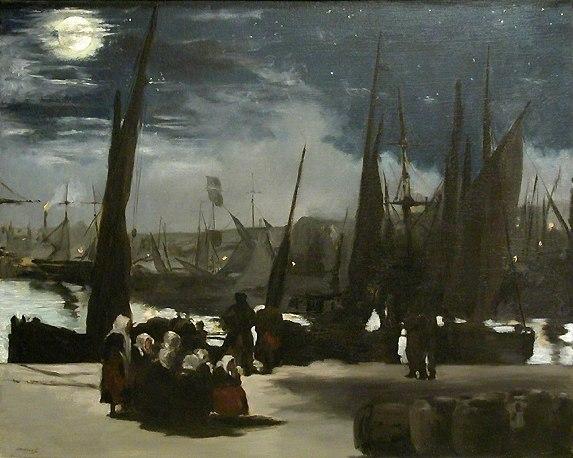 Ed. Manet. Clair de lune sur le port de Boulogne