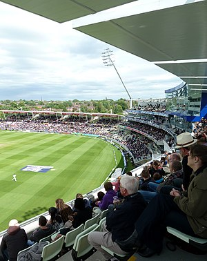 Edgbaston Cricket Ground - The Eric Hollies and South Stands and the Press Box.