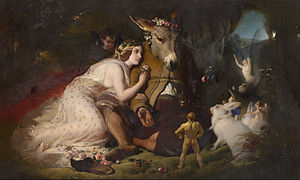 Scene from A Midsummer Night's Dream - Edwin Landseer, Scene from A Midsummer Night's Dream. Titania and Bottom, 1851, National Gallery of Victoria.