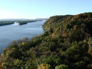Allamakee County, Iowa - View of the Mississippi from Effigy Mounds National Monument