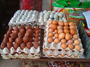 A variety of eggs as sold in Haikou, Hainan, C...