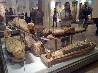 British Museum Department of Ancient Egypt and Sudan - Rooms 62 to 63 - Mummies on display in the Egyptian Death and Afterlife galleries