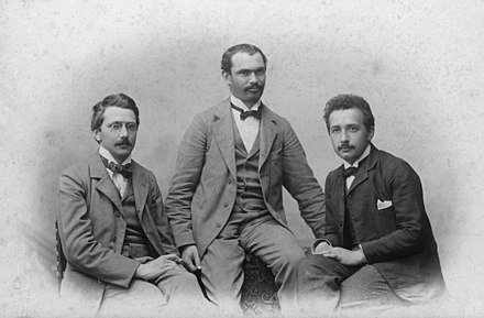 Olympia Academy founders: Conrad Habicht, Maurice Solovine and Einstein Einstein-with-habicht-and-solovine.jpg
