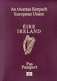 The front cover of a contemporary Irish biometric passport