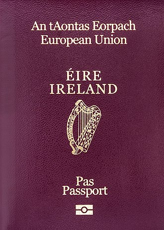 Irish passport - The front cover of a contemporary Irish biometric passport booklet