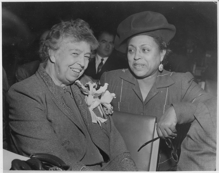 Eleanor Roosevelt and Edith Sampson at United Nations in New York - NARA - 196115