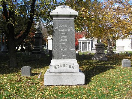 The monument for Henry Brewster Stanton and Elizabeth Cady Stanton in Woodlawn Cemetery Elizabeth Cady Stanton Monument 1024.jpg