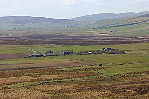 Rendall - Ellibister and surrounding farm land viewed from foot of Hammars Hill looking towards Redland and Firth.