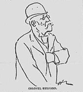 Line drawing of bespectacled, mustached man in a derby hat