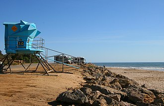 Emma Wood State Beach - Lifeguard tower and campsites overlooking the ocean