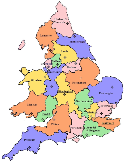 Dioceses in England and Wales English and Welsh Catholic Dioceses Map.png