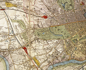 Shepherd's Bush - 1841 map of London showing a largely rural Shepherd's Bush (far left) .