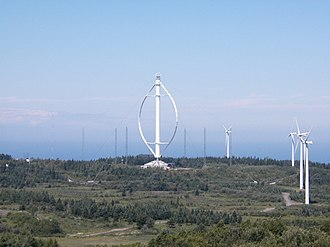 Darrieus wind turbine - Fig. 2: A very large Darrieus wind turbine on the Gaspé peninsula, Quebec, Canada