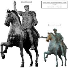 Il confronto tra ricostruzione ipotetica della colossale statua equestre di Traiano (conservatasi solo attraverso le raffigurazioni numismatiche) e quella di Marco Aurelio, oggi nel Palazzo dei Conservatori a Roma.