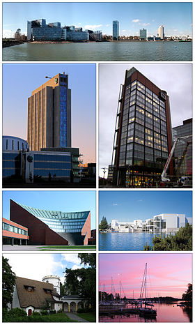 Clockwise from top: skyline of offices in Keilaniemi, Panorama Tower in Leppävaara, the Espoo Cultural Centre, Haukilahti docks, the Gallen-Kallela Museum, Aalto University Otaniemi campus auditorium, and Accountor Tower.