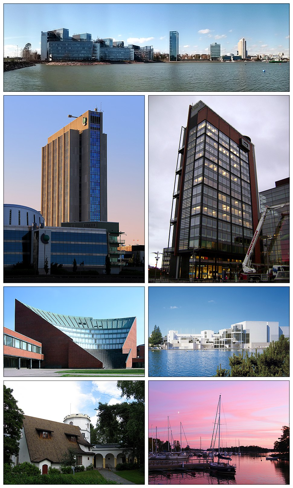 Clockwise from top: skyline of offices in Keilaniemi, Panorama Tower in Leppävaara, the Espoo Cultural Centre, Haukilahti docks, the Gallen-Kallela Museum, Aalto University Otaniemi campus auditorium, and the Fortum head office.