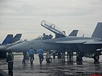Esquadrilha da Fumaça 60 anos - Pirassununga - US NAVY F-A 18 - Super Hornet - panoramio.jpg