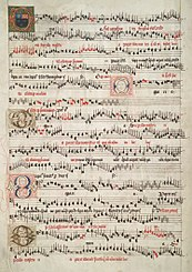 Opening of the O Maria salvatoris mater, by John Browne, in the Eton Choirbook (c. 1490)