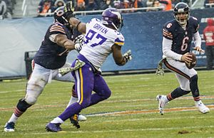 Defensive end - Everson Griffen rushing Jay Cutler