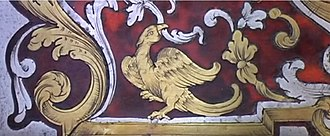 Inlay - Example of Boulle Work  inlay using tortoiseshell in mottled red, brass and pewter