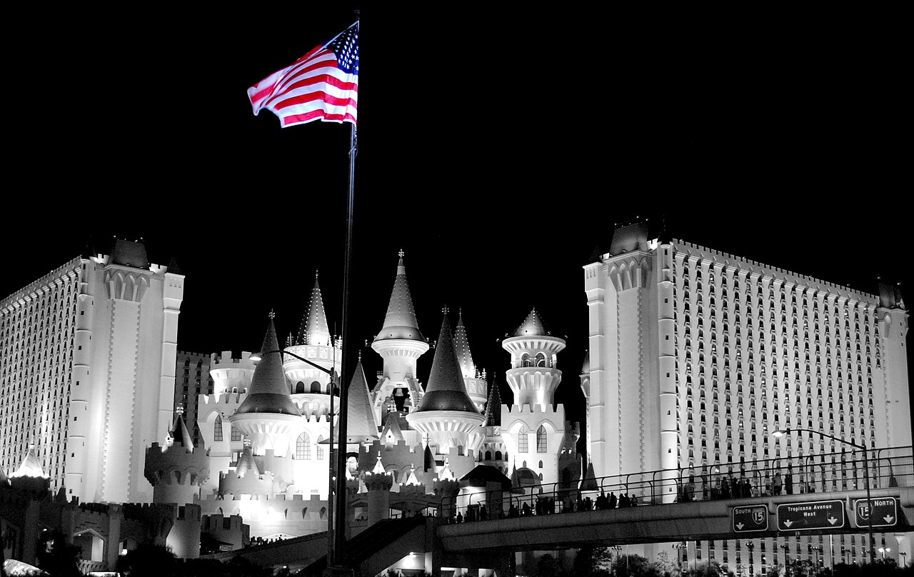 Excalibur hotel (with a flag)
