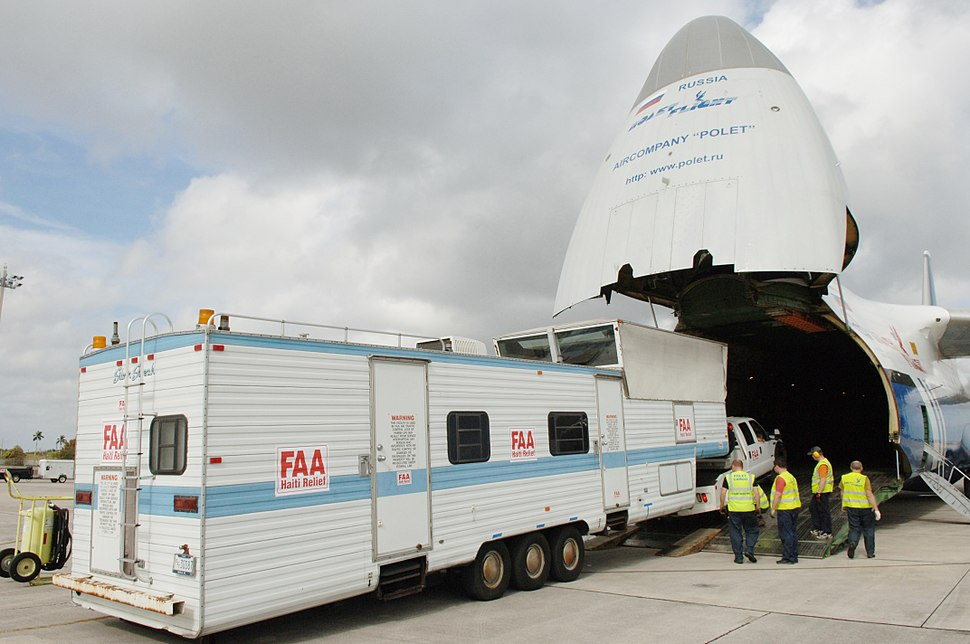 FAA mobile control tower %26 equipment loaded onto Antonov An-124 at HST 2010-01-21 1