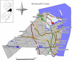 Map of Fairview CDP in Monmouth County. Inset: Location of Monmouth County in New Jersey.