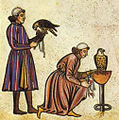 Falconry Book of Frederick II 1240s detail falconers.jpg