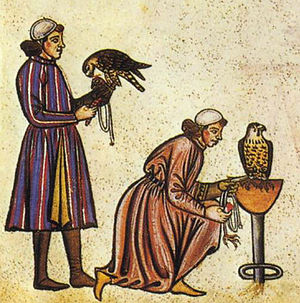 Birds in culture - Detail of two falconers from the Medieval De arte venandi cum avibus, c. 1240